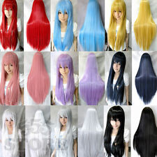 Womens/Ladies 80cm Long STRAIGHT Cosplay/Costume/Anime/Party/Bangs Full Sexy Wig