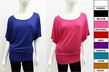 Women's Rayon Banded Waist Bottom Dolman Sleeves Top Blouse (SIZE: S~3X)