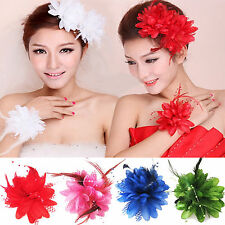 Newly Flower Feather Bead Corsage Hair Clips Fascinator Hairband Pin Bracelet