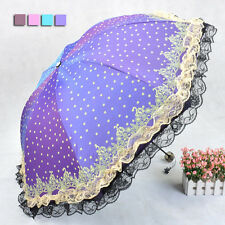 Girl New Folding Anti-UV Umbrella Lacework Wave Point Parasol Windproof KT0005