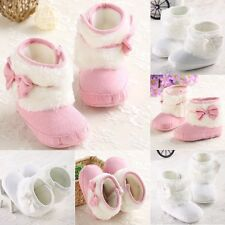 pure white pink baby shoes boots size 0-18 months girls toddler infant new soft