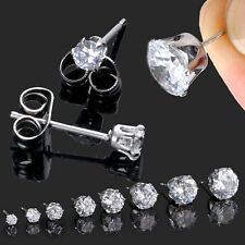 2pcs Mens Womens Stainless Steel Round CZ Stud Earrings 3-10mm Cubic Zirconia