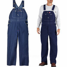Dickies Bib Overalls Mens Indigo Blue 100% Cotton Denim Jean Pocket Pants 83294