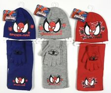 Marvel Ultimate Spiderman Boys Red Grey Blue Hat Gloves Scarf 3 Piece Set BNWT