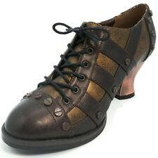 HADES Steampunk Womens Shoes Laceup Oxford Machinery Rivets JADE Brown