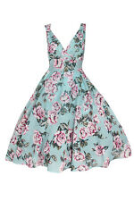 New Ladies 40's/50's Style Rockabilly Vintage Swing Day Dress - Teal Rose Floral