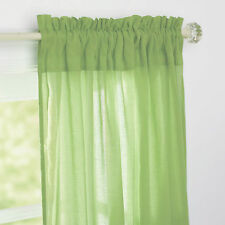 "NEW COMPANY STORE LIME GREEN CHAMBRAY VOILE PANEL ROD POCKET CURTAIN 84""X44"""