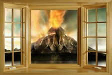 3D Window Bay View Volcano Island Lava Sticker Wall Poster Vinyl GA2-133