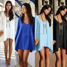 Elegant Women V-Neck Cut Out Long Sleeve Loose-Fitting Chiffon Dress Size S-XL