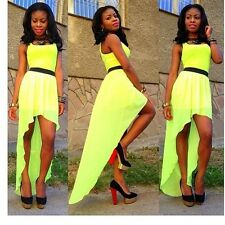 Sexy fashion lime green asymmetrical bodycon dress cocktail casual party outfit