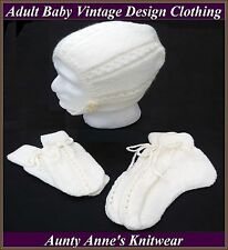 Adult Baby : Vintage Design Hand Knitted Bonnet, Mittens & Booties