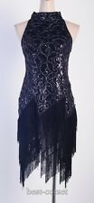 1920's Flapper Dress Clubwear Sexy Great Gatsby Sequin Tassel Black BC 3225