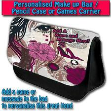 PERSONALISED FASHION GIRL EYES PENCIL CASE GAMES TRAVEL MAKE UP BAG ST006