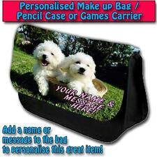 PERSONALISED BICHON FRISE PUPPIES PENCIL CASE GAMES TRAVEL MAKE UP BAG ST019