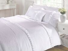 White Duvet Quilt Cover Bedding Bed Set Ruffles 4 Sizes Or Cushion Polycotton