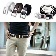 1Pcs Men's Metal Buckle Faux Leather Belt Black White Brown Causal Dress Belts
