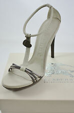 BURBERRY London Beige Checked Leather Heeled Sandals with Heart Tags (£350)
