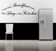 Breakfast Bed Sleep Kitchen Wall Art Quote Phrase Stickers Mural Decal transfer