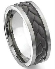 New Black Breaded Leather 10mm Stainless Steel Men's Wedding Band Ring