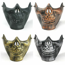 Human Skull Jaw Half Face Plastic Mask Realistic Halloween Skeleton Fancy Dress