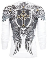 Xtreme Couture AFFLICTION Men THERMAL T-Shirt CROSS WINGS SKULLS Biker M-3XL $58