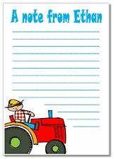 nb 16 Boys TRACTOR Notelets & envelopes, personalised - farm car paper gift xmas