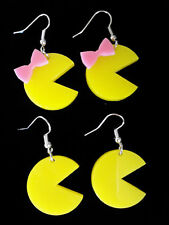 Yellow Mr OR Miss Pacman w/ Pink Bow Dangle Earrings Ms Pac-Man Retro Gamer 80's