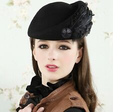 Hot Womens Feather Wool Winter Formal Party Church Princes Dress Hats Beret Caps