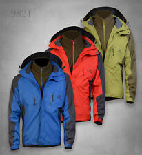 New Mens Waterproof 3 in 1 Raincoat Rainwear Hooded Coat Jacket