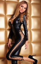 Women' Bodysuit Costume Wetlook Catsuit Overall PVC Goth Punk Lace Up@P7106