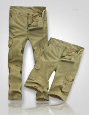 New mens Slim Cargo Trousers Shorts green khaki military style casual outdoor