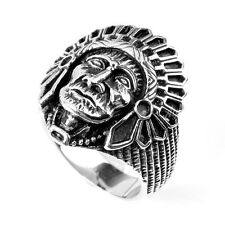 Mens 316L Stainless Steel Biker Indian Chief Head Gothic Finger Ring US 9-12