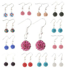 Disco Ball/Bead Pave Crystal Rhinestones Silver Plated Hook Dangle Earrings New
