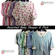 6-PACK Small Wonders Assorted Prints/Solids Cotton Boy Girl Baby Infant Sleepers