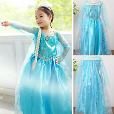 Girls Kids Popular Princess Frozen Queen Elsa Costume Cosplay Party Fancy Dress
