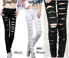 UK Womens Ladies White Black Ripped Low Waisted Skinny Stretchy Denim Jeans J002