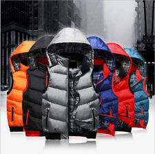 HOT Men's Cotton-Padded Thicken Puffer Hooded Sleeveless Warm Vest Jacket Coat