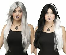Adult Womens Long Black White Silver Grey Gray Witch Hair Halloween Costume Wig
