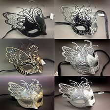 Gorgeous Butterfly Laser Cut Metal Venetian Masquerade Mask with Rhinestones