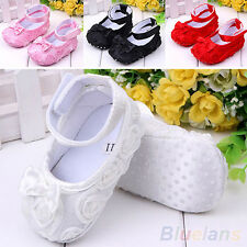 Baby Girl Ribbon Bow Gauze Flower Sandal Shoes Toddler Soft AntiSlip Prewalker
