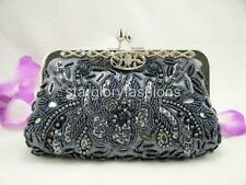 Gray Beaded Sequined Evening Clutch Crystal Frame & 9 Colors