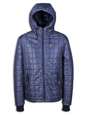 Mens Weekend Offender Kertesz Jacket Navy Blue Hooded Quilted Mid Weight Coat