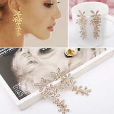 Fashion Rhinestone Crystal Snowflake Flower Long Dangle Earrings Ear Stud Gold