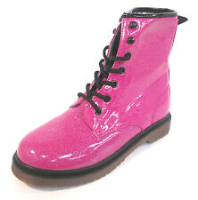 Girls Pink Glitter Lace Up Boots 26 347 0096
