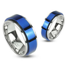 Elegant 316L Stainless Steel Blue Center Spinning Band Ring Size 5-13