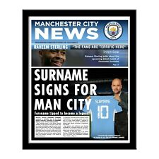 Personalised MANCHESTER CITY FC Printed Newspaper in Folder or Frame Man