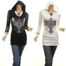 Celebrity Gothic Hood Cross Angel Wing Studs Lace Fitted Tunic Shirt Blouse Top