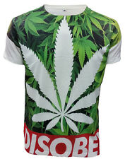 Disobey Weed SUBLIMATION FRONT PRINT T-SHIRT/Cannabis Leaf/Swag Dope/Tee/Top