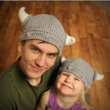 Super cute Cow horn Shaped Hat Parents and Baby Winter hat Vikings Hiccup Hat