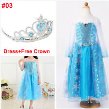 Kids Girls Elsa Frozen Costume Princess Anna Party Dress Crown Cosplay 5 Size